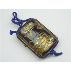 Another Japanese three-case lacquer Inro, Edo period (18th Century) decorated in gold, silver and mother of pearl inlays with a traveller's backpack and scroll 6.5 x 4.5cms-  Soame Jenyns Collection
