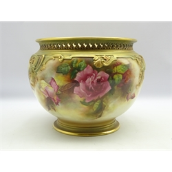 Royal Worcester Jardiniere painted with roses beneath a pierced gilded rim, signed 'M (Mary) Eaton', D26cm x H24cm