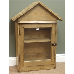 19th century pine wall cupboard, arched pediment, glazed door enclosing shelved interior, W61cm, H56cm, D25cm