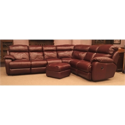 Seven seat Corner sofa group with electric end reclining chairs (This item is PAT tested - 5 day warranty from date of sale)