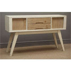 Rustic wood and painted sideboard, two centre drawers and two tambour roll cupboards, on angular supports, W122cm, H76cm, D35cm