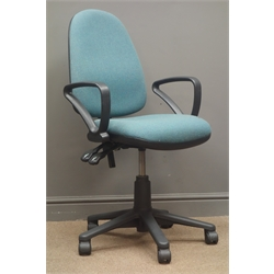 Office swivel arm chair, five supports on castors
