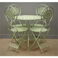 Green finish wrought metal circular garden table (D70cm, H75cm), and four folding chairs