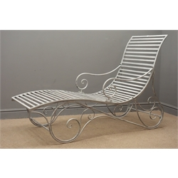 Silver finish wrought metal scrolled garden lounger H100cm, W60cm, D155cm