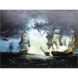 'The Battle of Flamborough Head, oil on canvas signed by Peter J Bailey (British 1951-) 90cm x 120cm