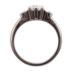 Platinum three stone diamond ring, the oval centre stone of approx 1.80 carat with two half moon cut diamonds either side, each weighing approx 0.50 carat, hallmarked, total carat weight approx 2.80 carat