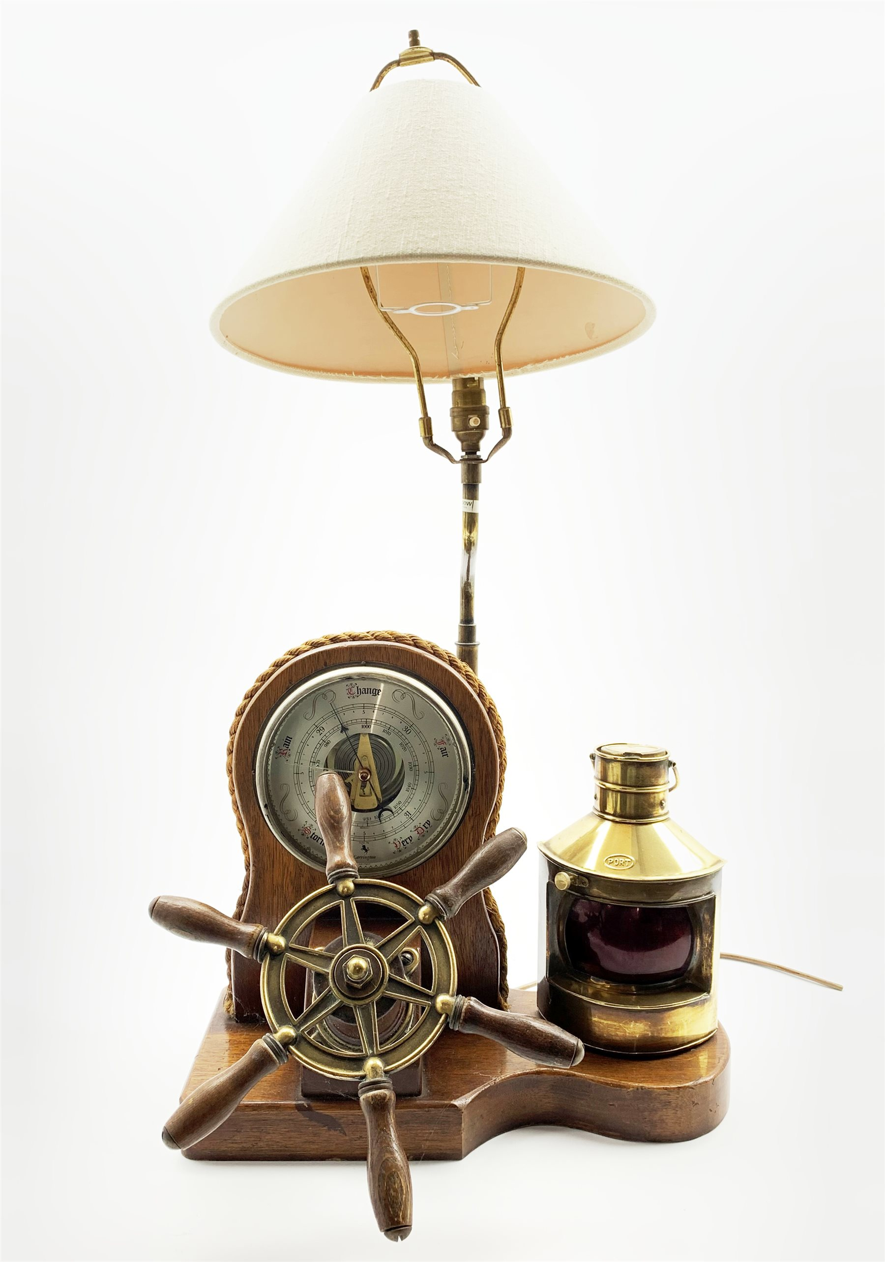 Oak Table Lamp Formed With A Nautical Theme With Aneroid Barometer Port Lantern And Six Spoke Wheel H80cm Antiques Fine Art Interiors Collectors