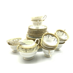 Shelley tea set decorated with garlands within a key pattern border comprising twelve cups and saucers, twelve plates, two bread and butter plates, milk jug and sugar bowl ( 40 )