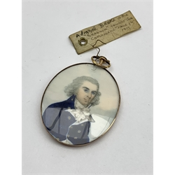 Attributed to Frederick Buck (1771-1839) miniature portrait of a naval officer with label 'Admiral Broke of the Shannon, fought the Chesapeake June 1st 1813' 5.5cm x 4.75cm