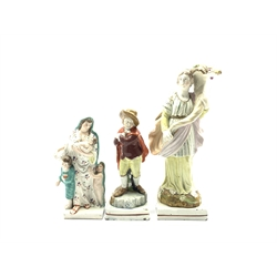 Early 19th Century Staffordshire pearl ware figure representing Spring holding a cornucopia on a square base H29cm, another of a mother and children representing Charity H18cm and another of Winter H19cm