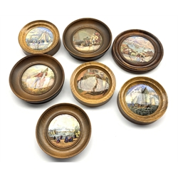 19th Century Pratt ware pot lid 'Sebastapol', another 'Royal Harbour Ramsgate' 'The Enthusiast' and four others (7)