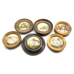 Collection of six 19th Century Pratt ware pot lids including 'The Times', 'I see you my boy', 'Peace' and three others (6)