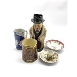 Royal Doulton 'Winston Churchill' character jug No. 8360 H22cm, Delft blue and white mug with a bust of Nelson H13cm, Meissen saucer dish, German miniature mug and two other pieces