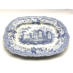 Early 19th Century blue and white meat plate transfer printed with the 'Ancient Ruins' pattern 54cm x 44cm