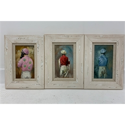 David 'Mouse' Cooper - Series of three oil paintings on panel of Jockeys Silks, signed, each 18cm x 10cm, uniformly framed