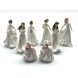 Pair of Royal Doulton figures 'Embrace' HN 4258,another pair 'Buttercup' HN 3908 and four others 'Friendship' HN 3491, 'Harmony' HN 4096, 'Melody' HN 4117 and 'Cherish' HN 4442 (8)