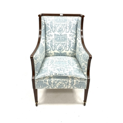 Edwardian mahogany Sheraton style armchair with ebony and boxwood stringing, raised on square tapered supports and brass and ceramic castors, upholstered in G.P and J Baker 'Octavia' fabric, with integral cushion, W64cm, H96cm, D60cm