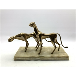 John Mulvey (b 1939) Gilt bronze group of two cheetahs on rectangular marble base, inscribed on a plaque and dated 1975 36cm x 50cm