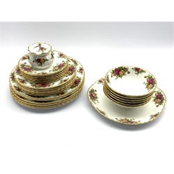 Royal Albert 'Old Country Roses' pattern dinner service comprising six dinner plates, six dessert plates, six side plates and six bowls with matching two tier cake stand, cake plate and preserve jar (27)