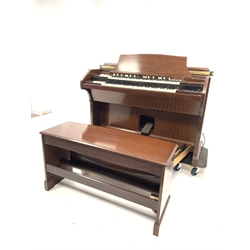 20th century electric church organ by Hammond, in walnut case, Model no. RT3 serial no. 8840 (W140cm) with bench (W116cm) and Hammond P-40 amplifier, (W81cm)