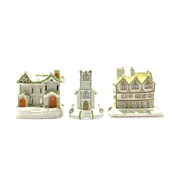 19th Century Staffordshire pottery pastille burner in the form of a two storey cottage, H13cm, Coalport model of Mulberry Hall and another of a village church (3)
