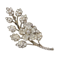 Gold and silver old cut diamond trembleuse spray flower brooch, retailed by Collingwood of Conduit St, London, in original fitted velvet lined case
