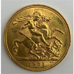 King George V 1931 gold full sovereign, Pretoria mint