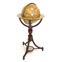 12inch Terrestrial library globe printed with named signs of the zodiac on mahogany tripod stand, H92cm
