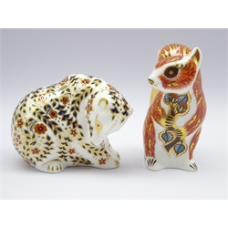 Two Royal Crown Derby paperweights 'Woodland Squirrel' and 'Russian Bear' both with gold stoppers and boxed (2)