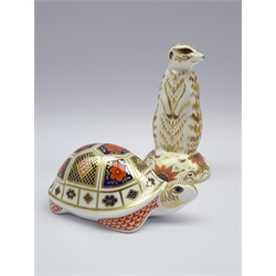 Two Royal Crown Derby paperweights 'Meerkat' and 'Turtle', both with gold stoppers and boxed (2)