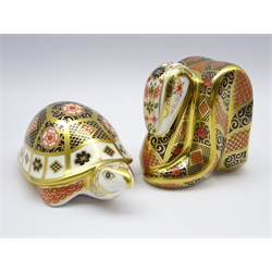 Two Royal Crown Derby paperweights 'Yorkshire Rose Mother Tortoise' no.569 with certificate and 'Old Imari Snake' both with gold stoppers and boxes (2)