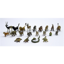 Collection of Austrian cold painted bronze miniature animals including Antelope, Snake, Lizard, Lion, Zebra, Parakeet, Tortoise, Rhino and others, H2cm maximum (21)