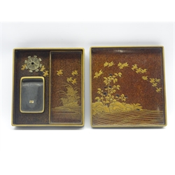 Japanese lacquer writing box, Edo period (18th Century), the box and cover decorated in gold, black and brown with a man washing in a waterfall, another man and water buffalo beside him, the interior  in gold, black and mother of pearl inlays with flying birds and with a slate ink stone 20 x 22 x 4.5 cms-  Soame Jenyns Collection
