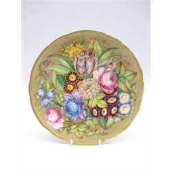 19th Century Derby plate painted with a large spray of flowers by James Rouse, the reverse inscribed 'Painted by James Rouse Senr' 23cms Diam
