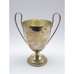 'St Edmundsbury Co-operative Bacon Factory Show' - a George III 2 handled silver trophy with later engraving H 27cms 32.8oz