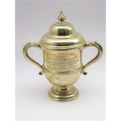 'Challenge Cup presented by Great Eastern Railway Co' - A 2 handled trophy with domed cover H 30cms 31.1oz