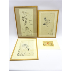Japanese Meiji period drawing of a group of 4 various birds in pen, ink and colour, signed, 56 x 27, Manner of Kawanabe Kyosaio (1831-1889) Woman seated astride crane with attendants, signature and seal mark, pen ink and watercolour on silk, 20cm x 23cm (unframed) and 2 other Japanese drawings of birds, 1 signed -  Soame Jenyns Collection