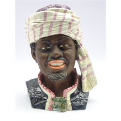 Late 19th century Austrian tobacco jar and cover in form of an African wearing a turban, impressed no. 1220, H30cm