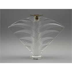 Lalique frosted glass candlestick in the 'Ravelana' design, signed and complete with label, H21cm