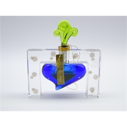 Baccarat limited edition glass scent bottle 'Une Nuit Etoilee au Bengale' the clear glass frame supporting a blue glass scent bottle with green swirled stopper, no. 847/ 1500, signed with certificate and original label, unsealed, some contents