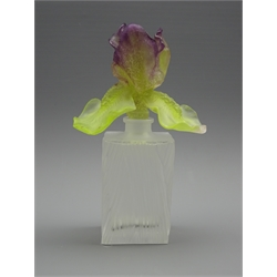 WITHDRAWN- Daum art glass perfume bottle, with frosted textured bottle and lily shaped stopper with graduated purple and green colours, signed, H21cm
