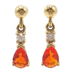 Pair of 9ct gold fire opal and diamond pendant ear-rings, hallmarked