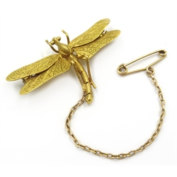 Early 20th century gold dragonfly brooch, stamped 15ct, in original box
