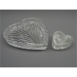 Waterford crystal heart shaped dish and box &amp cover, 19cm