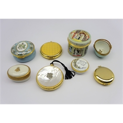 Three Halcyon Days commemorative enamel boxes comprising 'A Tribute to Queen Elizabeth no. 254/ 2000 and two for the Diana Princess of Wales Memorial Fund, Porcellane d'arte Agostinelli pill box and three Estee Lauder powder compacts, one with mother-of-pearl cover (8)
