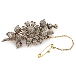 Gold and silver old cut diamond set flower brooch
