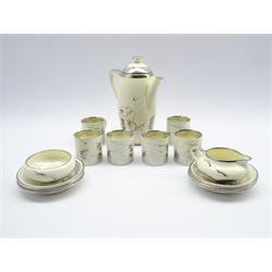 Art Deco Gray's pottery coffee set for six, decorated with stylized birds and flowers in silver lustre (15)