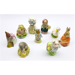 Nine Beswick Beatrix Potter figures Mr Jeremy Fisher, Rebecca Puddle-Duck, Lady Mouse, Cousin Ribby, Poorly Peter Rabbit, Diggory Diggory Delvet, Little Pig Robinson, Hunca Munca and Johnny Town-Mouse (9)
