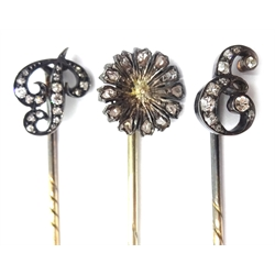 Two diamond stick pins initialled 'E' and 'P' and one other
