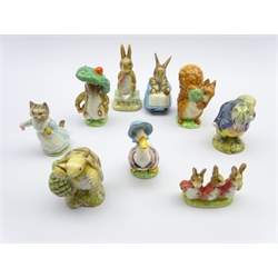 Nine Beswick Beatrix Potter figures Tommy Brock, Benjamin Bunny, Squirrel Nutkin, Jemima Puddleduck, Tabitha Twitchett, Mr Alderman Ptolemy, Fierce Bad Rabbit, Mrs Rabbit and Bunnies and Flopsy Mopsy and Cottontail (9)